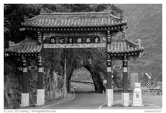 Entrance gate. Taroko National Park, Taiwan (black and white)