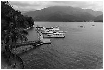 Dock and boats. Sun Moon Lake, Taiwan (black and white)