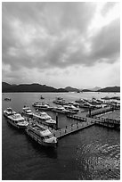Tour boats, Shueishe Pier. Sun Moon Lake, Taiwan (black and white)