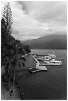 Promenade and boat pier. Sun Moon Lake, Taiwan (black and white)