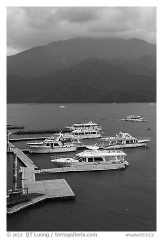 Tour boats. Sun Moon Lake, Taiwan (black and white)