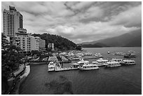 Shueishe Village waterfront and pier. Sun Moon Lake, Taiwan (black and white)