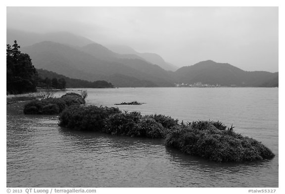Floating gardens and misty mountains. Sun Moon Lake, Taiwan (black and white)