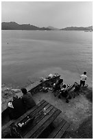 Family fishing. Sun Moon Lake, Taiwan (black and white)
