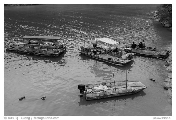 Boats and fishermen. Sun Moon Lake, Taiwan (black and white)