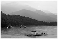 Houseboats and misty mountains. Sun Moon Lake, Taiwan (black and white)