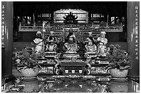 Confuscian statues on altar, Wen Wu temple. Sun Moon Lake, Taiwan (black and white)