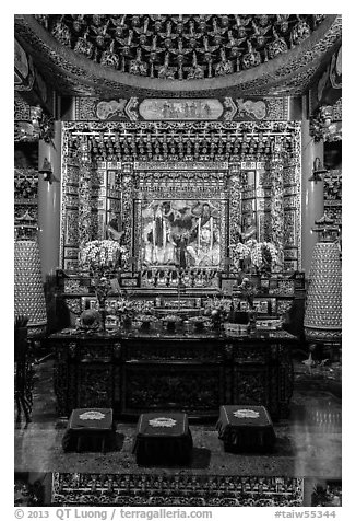 Altar in main hall, Wen Wu temple. Sun Moon Lake, Taiwan (black and white)