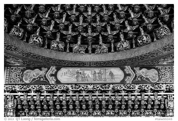 Detail of gilded ceiling and wall, Wen Wu temple. Sun Moon Lake, Taiwan (black and white)