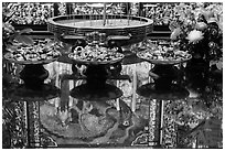 Reflections on altar table top, Wen Wu temple. Sun Moon Lake, Taiwan (black and white)