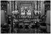 Altar and reflections, Wen Wu temple. Sun Moon Lake, Taiwan (black and white)