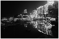 Sun Moon Lake Village and pier at night. Sun Moon Lake, Taiwan (black and white)