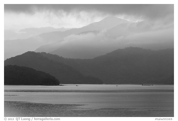 Misty mountains. Sun Moon Lake, Taiwan (black and white)