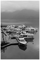 Tour boats in early morning. Sun Moon Lake, Taiwan (black and white)