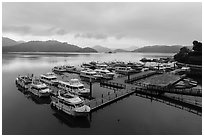 Shueishe Pier, early morning. Sun Moon Lake, Taiwan (black and white)