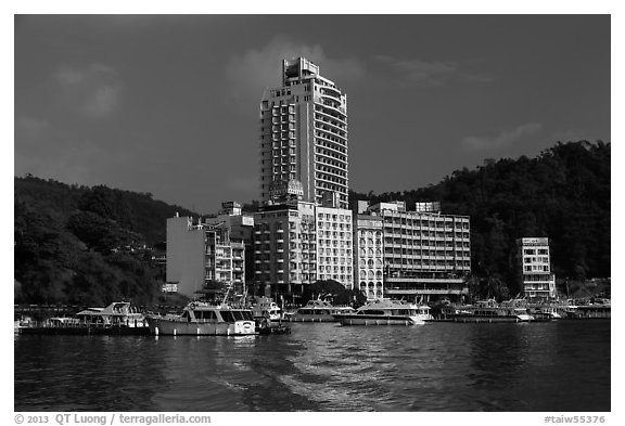Shueishe Village seen from the lake. Sun Moon Lake, Taiwan (black and white)