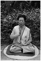 Woman meditating. Sun Moon Lake, Taiwan (black and white)