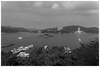 Shueishe and Lalu Island. Sun Moon Lake, Taiwan (black and white)