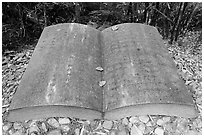Giant book sculpture. Sun Moon Lake, Taiwan (black and white)