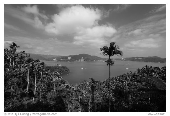 Wide view of lake with palm trees. Sun Moon Lake, Taiwan (black and white)