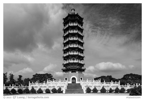 Tsen Pagoda. Sun Moon Lake, Taiwan (black and white)