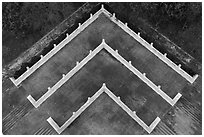 Terraces from above, Tsen Pagoda. Sun Moon Lake, Taiwan (black and white)