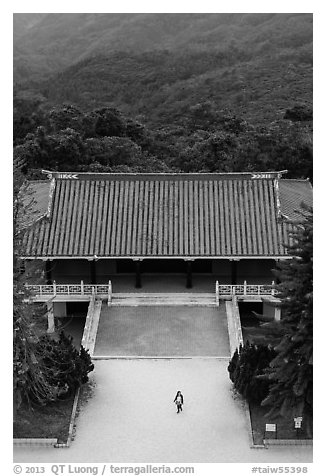 Woman and temple from above, Tsen Pagoda. Sun Moon Lake, Taiwan (black and white)