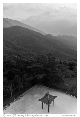 Pavilion from above and misty mountains, Tsen Pagoda. Sun Moon Lake, Taiwan (black and white)