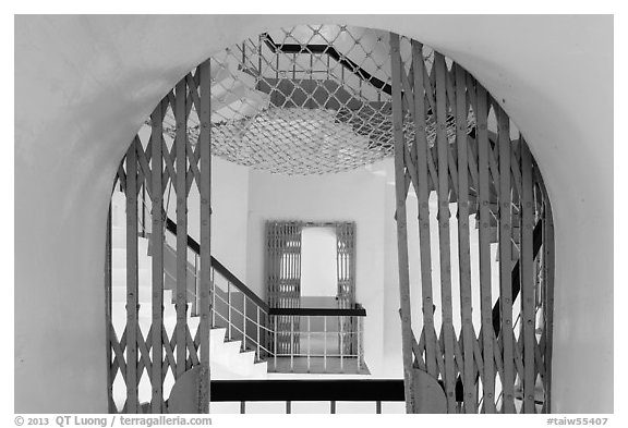 Tsen Pagoda staircase seen through door. Sun Moon Lake, Taiwan (black and white)