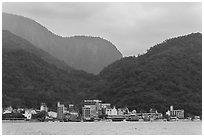 Itashao Village and mountains. Sun Moon Lake, Taiwan (black and white)