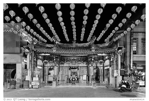 Temple and red paper lanterns at night. Lukang, Taiwan (black and white)