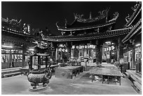 Courtyard, Tienhou (Matzu) Taoist Temple at night. Lukang, Taiwan ( black and white)