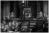 Altar with Black-Faced Matsu, Tienhou Temple. Lukang, Taiwan (black and white)