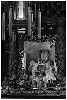 Black-Faced Matsu, Matsu Temple. Lukang, Taiwan (black and white)