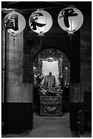 Lanterns and altar, Matsu Temple. Lukang, Taiwan (black and white)