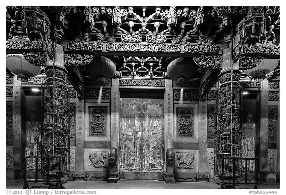 Facade of Matsu temple with closed doors at night. Lukang, Taiwan (black and white)