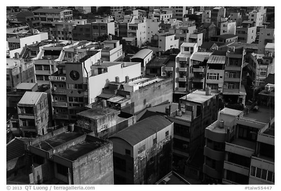 Modern rooftops. Lukang, Taiwan (black and white)