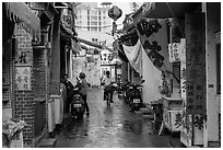 Alley in early morning. Lukang, Taiwan (black and white)