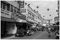 Street near market. Lukang, Taiwan (black and white)