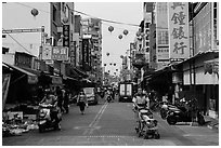 Street with paper lanterns. Lukang, Taiwan ( black and white)