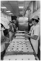 Workers in dumpling bakery. Lukang, Taiwan ( black and white)