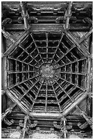 Brackets, beams, plafond ceiling, Longshan Temple. Lukang, Taiwan ( black and white)