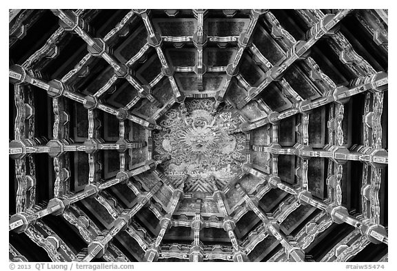 Plafond ceiling detail, Longshan Temple. Lukang, Taiwan (black and white)