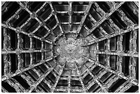 Plafond ceiling detail, Longshan Temple. Lukang, Taiwan ( black and white)