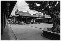 Main courtyard, Longshan Temple. Lukang, Taiwan (black and white)