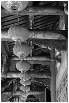 Paper lanterns and woodwork, Longshan Temple. Lukang, Taiwan ( black and white)