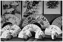 Fans and paintings. Lukang, Taiwan ( black and white)