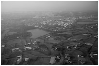 Aerial view of developped countryside. Taiwan (black and white)