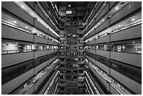 Inside of high rise building. Taipei, Taiwan ( black and white)