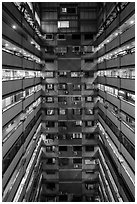 Atrium of high rise building. Taipei, Taiwan ( black and white)